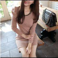 2014秋冬新款 韩版显瘦甜美修身圆领套头泡泡袖连衣裙#K2#961