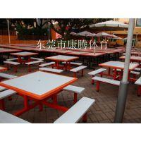 玻璃钢8人方台餐桌工厂食堂餐桌椅连体餐桌椅玻璃钢餐桌椅组合