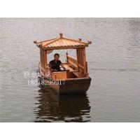 单亭木船厂家出售湖南湖北湿地公园景区电动木船手划观光船餐饮客船
