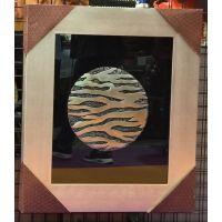 华仑观色厂家出口PS外框定做抽象银色63x73cm长方形客厅高档立体树脂工艺画