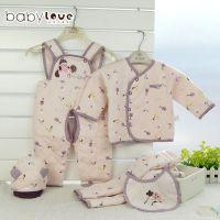 婴儿秋冬衣服礼盒套装 新生儿礼盒娃爱的五件套 婴儿棉服宝宝礼盒