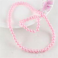 6MM仿珍珠粉色儿童项链手链配件半成品