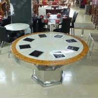 圆形玻璃火锅桌 小肥羊火锅桌批发 欧式风火锅店专用火锅桌椅
