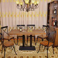 海德利热销定制 美式loft复古实木铁艺餐桌 中餐厅/西餐厅简约现代餐桌 批发来图定制