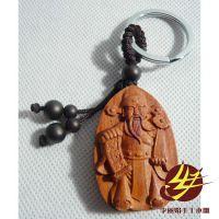 专业销售 花梨木雕桃木家居车挂件 钥匙扣圈挂件招财进宝财神到