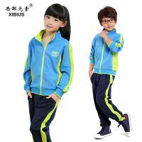 春秋新款小学生幼儿园校服纯棉儿童拉链衫长裤白蓝色运动套装订做