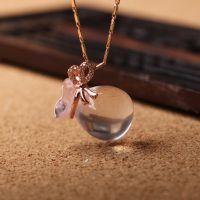 饰品代理天然水晶芙蓉石粉晶钱袋葫芦吊坠 完美镶嵌福袋饰品配饰