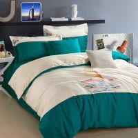 简约纯棉四件套床上床品全棉素色床单被套刺绣花公主春夏婚庆家纺