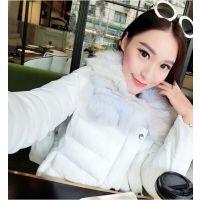 小银子2014冬装新款 欧美超洋气貉子毛领短款棉衣W11187
