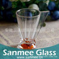 蚌埠工厂直销高品质玻璃把杯 玻璃红茶杯  底部喷色创意咖啡杯