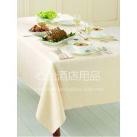 工厂新款直销 涤纶纯色桌布 餐厅米白色台布 酒店圆形餐桌