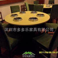 供应电磁炉桌 鸡公煲 旋转火锅桌椅 板材餐桌