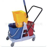 宾馆用高级榨水车 地板清洁用双桶榨水车 酒店用品 清洁用具