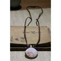 景德镇陶瓷首饰品 富贵吉祥 复古怀表吊坠项链 文艺  手绘 批发