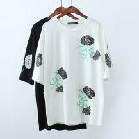 素朴。韩版夏季新款时尚宽松花朵印花短袖T恤打底衫女潮批发