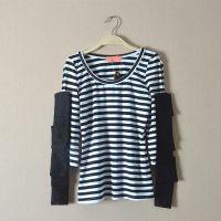 外贸原单日式女装条纹t恤女 2015夏新品个性条纹中袖露肩t恤女