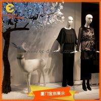 美陈橱窗展示用玻璃钢树脂花朵树木道具