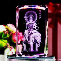 厂家创意内雕菩萨佛像摆件 水晶工艺品激光内雕佛像加工定做