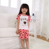 巴贝琪2015新款夏季时尚韩版童装家居服男童女童短袖宝宝儿童睡衣套装B5111