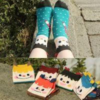 新款 韩国可爱卡通秋冬款女士短筒袜小怪兽中筒袜棉女全纯棉袜子