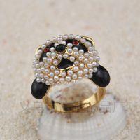 X4666珍珠熊猫头戒指 镀18K黄金熊猫戒指 首饰批发
