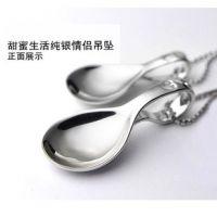 正品S925纯银吊坠情侣项链男女款首饰勺子挂坠创意饰品厂家批发