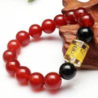 2015   天然水晶红玛瑙手链本命年手串转运首饰品