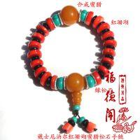 女士款复古民族风天然东海水晶红蜜蜡绿松石佛珠手串单圈念珠20mm