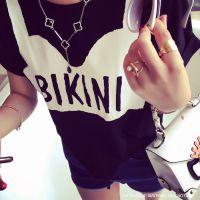 小银子2015夏装新款趣味图案字母系带棉质短袖T恤T5311