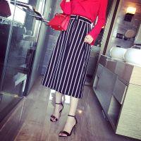 小银子2015夏装新款欧美时髦显瘦竖纹九分阔腿裤