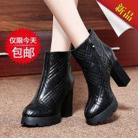 冬季金典格纹加绒内里马丁靴气质粗跟短靴 莱卡金顿女靴LK-A1593