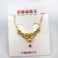 纯黄铜镀24K黄金镀金花朵女士项坠 仿真金饰品 高仿首饰项链批发