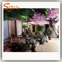 农家乐造景 仿真植物布置餐厅 广州仿真植物厂家 生态餐厅造景 生态餐厅装修