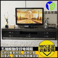 远标家具 不锈钢欧式大理石电视柜 简约现代地柜茶几组合钢化玻璃