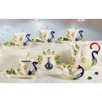 特价15头法兰瓷 孔雀咖啡套杯单牛奶杯带勺创意情侣杯咖啡套具
