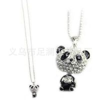 1条起批 韩国饰品 长款 闪钻大头熊猫吊坠 长项链毛衣链 D16R3