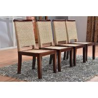 铭阁家具厂家提供新款地中海餐桌椅实木餐桌椅组合藤木长方形餐桌餐椅一桌四六椅