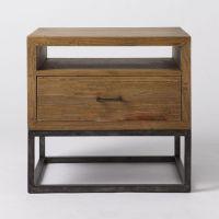 美式铁艺实木创意床头柜铁艺复古做旧储物柜床头柜简约斗柜直销