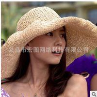 夏天韩版高圆圆杨桃同款女帽子沙滩度假手工钩针草帽可折叠大沿帽
