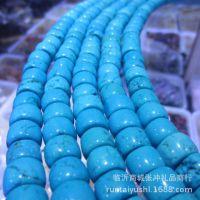天然美国绿松石散珠绿松石车轮算盘珠饰品配件手链毛衣链松石配珠