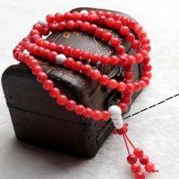 聚宝堂水晶  阿根廷红纹石手链 纯天然 女款 108颗 白玛瑙手串