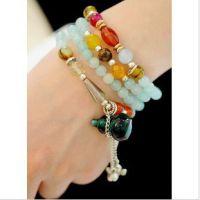 韩国饰品 宝葫芦 夸张葫芦坠手链 纯银玛瑙天然水晶多层手链1515