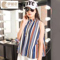 日韩女装厂家直销一件代发16夏季条纹t恤女 立领无袖时尚女士t恤