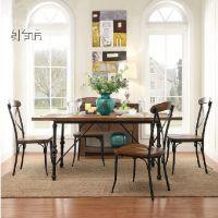 美式复古实木吧台椅子客厅餐椅 低靠背 仿古做旧餐桌椅咖啡桌椅