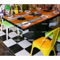 定制时尚主题餐厅火锅烧烤桌 主题烧烤 多多乐家具供应田园无烟涮烤桌
