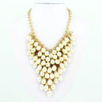 巴洛克风 奢华水帘式镀18K金珍珠项链 速卖通欧美热销