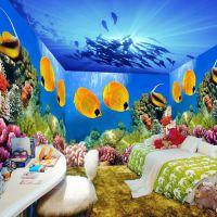 KTV背景墙3D海洋壁纸 酒吧餐厅海底世界墙画 无缝5D壁画魔方壁画