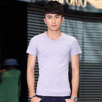 男装免费代理代发货 韩版修身合体纯色V领男士短袖T恤打底衫#1326