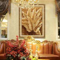 手绘油画欧式泰式抽象客厅餐厅玄关书房卧室装饰画风景金箔芭蕉叶