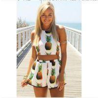 ebay速卖通2015新款欧美夏装两件套菠萝挂脖露背露肚短裤